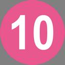 Цифра десять в розовом круге